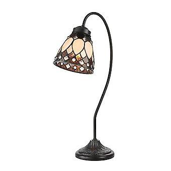1 Lâmpada de mesa clara tinta de bronze escuro, Tiffany, E14