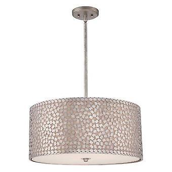 Confeti de Elstead - 4 luz grande redondo techo colgante de plata antigua, E27