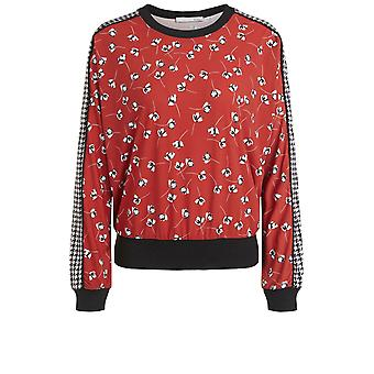 Oui Red Floral Print Top