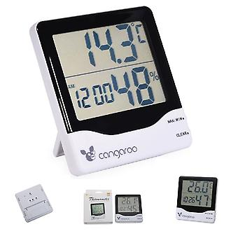 Cangaroo Thermometer 3 in 1, Hygrometer, Thermometer, Digital Clock with Alarm Clock