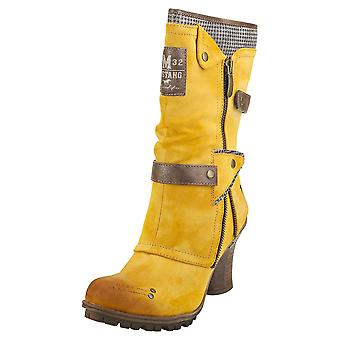 Mustang Winter Ankle Boots Womens Biker Boots in Yellow
