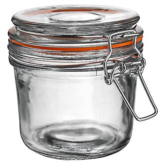 Argon Tableware Glass Storage Jar with Airtight Clip Lid - 350ml - Orange Seal