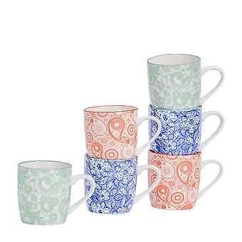 Nicola Spring 6 Piece Paisley Patterned Tea and Coffee Mug Set - Small Porcelain Cappuccino Cups - 3 Colours - 280ml