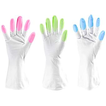 TRIXES Rubber Gloves-Washing up Gloves-Cleaning Gloves-Pack of 3