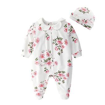 Nyfödda Baby Spets Blommor Jumpsuits & Hattar Kläder Set, Princess Footies