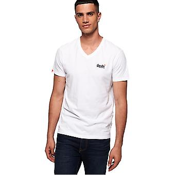 Superdry Organic Cotton Vintage Embroidery V-Neck T-Shirt - Optic White