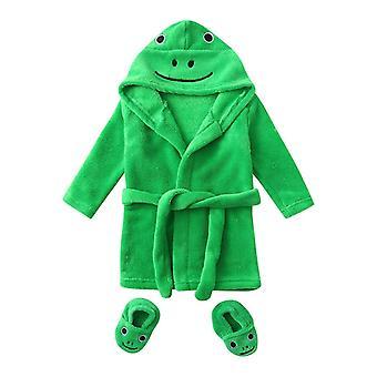 Cute Animal Szlafrok z kapturem Niemowlę Cartoon Flannel Hoodie Sleepwear + obuwie