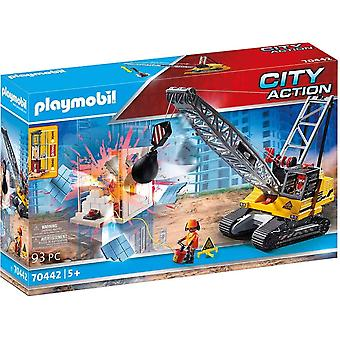 Playmobil 70442 city action construction demolition crane 93 pc with working
