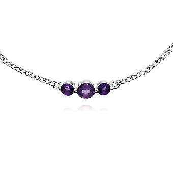 Classic Round Amethyst Three Stone Gradient Bracelet in 925 Sterling Silver 270L011103925