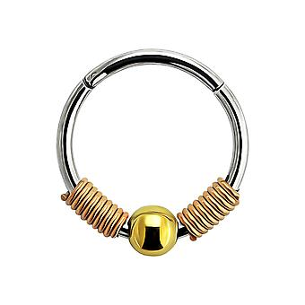 18 Gauge - 8MM Length Rose Gold Anodized Surgical Steel Spring Coil with Ball Center Hinged Segment Nose Ring Septum Piercing