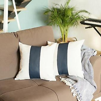 Faux Leather Square Throw Pillow Cover