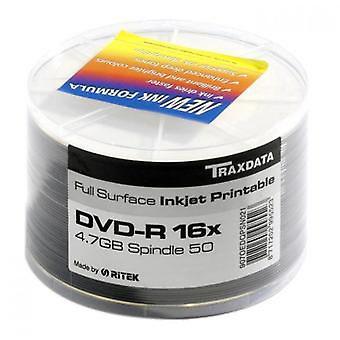 Traxdata ritek full face white printable dvd-r 16x