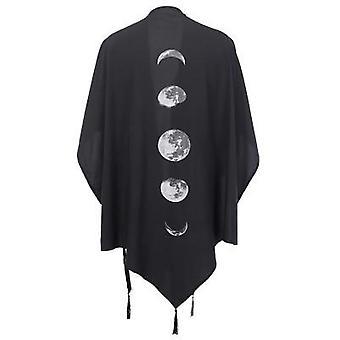 Coat Vintage Moon Print, Gothic Loose Women Batwing Duplex Shawl/long Sleeve