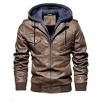 Men's Winter Leather Jackets, Casual Motorcycle Biker Leather Jacket Hooded