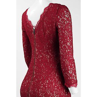 Lange Ärmel zurück Reißverschluss Spitze Mantel Kleid