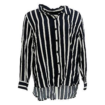 Rachel Hollis Ltd Women's Top Striped Button Front Shirt Blue A374143
