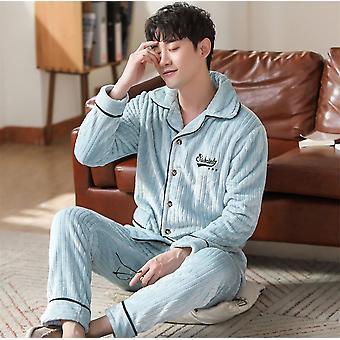 Winter Thicken Warm Soft Flanell Langarm Sleepwear Pyjama Paar Pyjamas