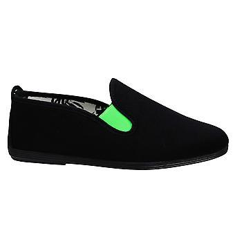Estilo Flossy Menorca Unisex Espadrille Slip On Plimsolls Zapatos 55302 Negro Verde