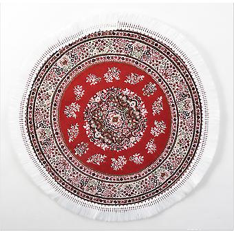 Dolls House Round Turkish Carpet Miniature Red & Tapis circulaire blanc avec la frange