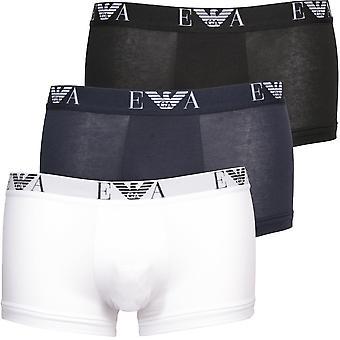 Emporio Armani 3-Pack Eagle Logo Boxer Trunks, Black/White/Navy