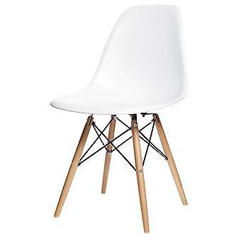 Matsalsstolar vita - 4 stolar - trä och plast