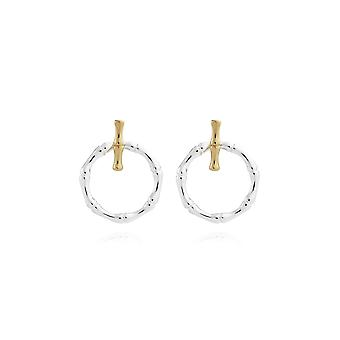 Joma Jewellery Statement Earrings Silver Gold Bamboo Ear Jacket Earrings 4410