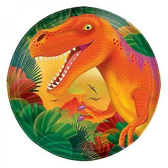 Party signs Dino 18 Cm 8 Pieces Orange