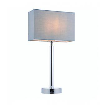 Owen Rectangular Table Lamp In Steel, Chrome Plate And Gray Fabric