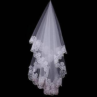 Kurze Brautschleier mit Spitzenrand, Hochzeitszubehör