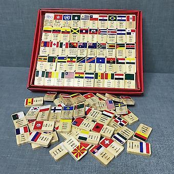 100個の国旗木製ドミノ教育ブロックセット