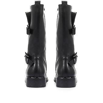 Regarde Le Ciel Womens Roxana-21 Leather Biker Boots