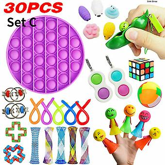 28/30 Pcs Sensory Fidget Toys Bundle Stress Relief With Fidget Hand Toys Rainbow Rubik Cube Five Finger Push Bubbles Unzip Ball Toys