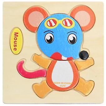 Vauvan puinen 3d-palapeli Sarjakuva Animal Intelligence Tangram Muodot Lelu