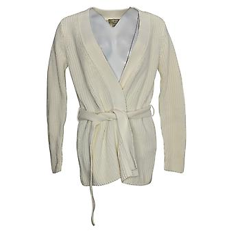 Denim & Co. Women's Sweater Naturals Sweater with Tie Waist Ivory A379087