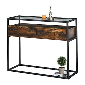 HOMCOM Entryway Console Table Desk with Drawers, Toughened Glass Shelf, 3D Wood Grain