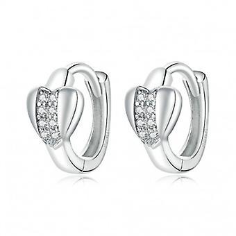 Silver Earrings Shiny Heart - 7066