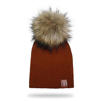 Winter Kids Leather Knitted Artificial Raccoon Pompom Hat Crochet's Caps Baby