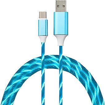 USB-C–USB-latauskaapeli LED-sinisellä 1 metrillä