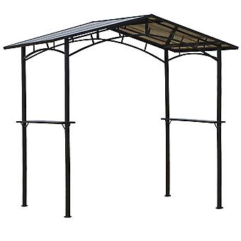 Outsunny 8ft x 5ft Outdoor BBQ Protective Gazebo Tent Aluminium Steel Frame w/ 2 Shelves Hardtop Roof Canopy Ground Stakes Safe Cooking