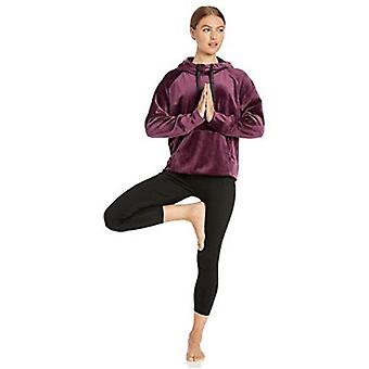 Merk - Core 10 Women's Luxe Velvet Yoga Hoodie, Wine/Black, M (8-10)