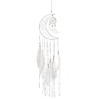 Moon Dream Catcher White Woven Feather Dreamcatcher Wall Hanging Decoration
