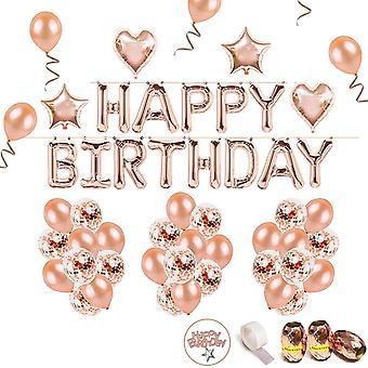 HanFei Geburtstag Rose Deko Happy Birthday Girlande 36 Rosegold Ballons 15 Konfetti Ballons 4 Herz