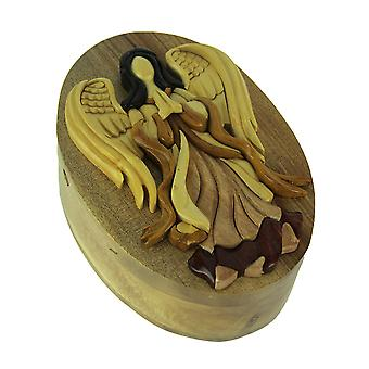 Hand Carved Wood 3D Praying Angel Puzzle Trinket Box