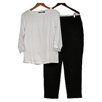 Susan Graver set fim de semana algodão texturizado top e calças definir preto A390452