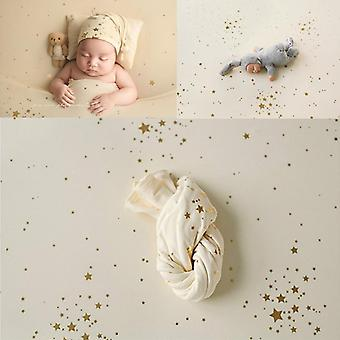Newborn Photography Propsm Blanket Baby Gilding Star, Backdrop Fabrics Cloth,