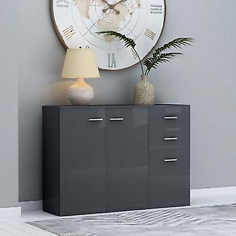 vidaXL Sideboard high gloss grey 105 x 30 x 75 cm chipboard