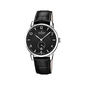 Quartz men's watch with analog display and black leather strap, C4591/4