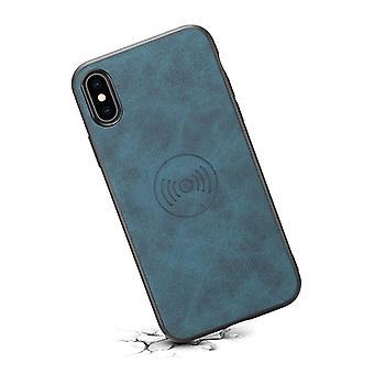 حقيبة جلدية مع فتحة بطاقة المحفظة لiPhone7plus/8plus الأزرق الرجعية