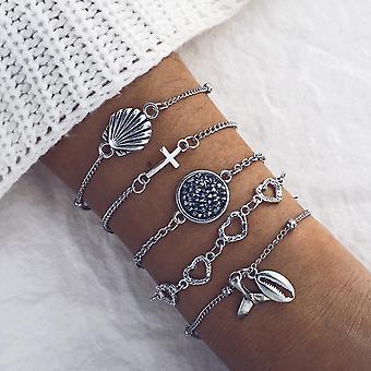 Set á 5 pezzi bracciale placcato argento con conchiglie, cuori, pietre
