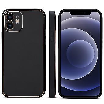 Slot per la custodia del portafoglio in vera pelle per iphone 12pro 6.1 elegante pc nero1562